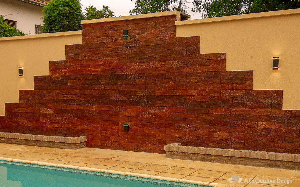 Pared Maya con Revestimiento Quebracho Wall AGOD • AG Outdoor Design